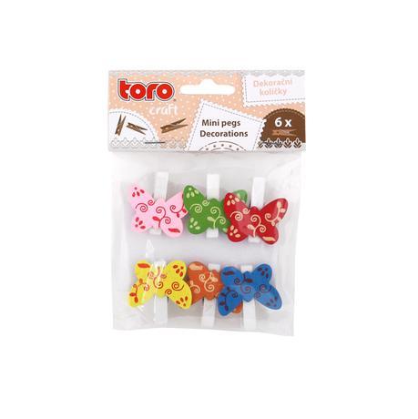Dřevěné dekorační kolíčky TORO motýl 6ks