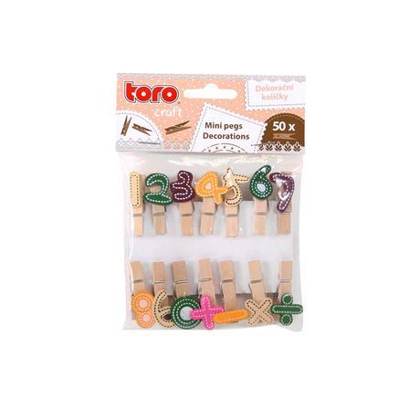 Dřevěné dekorační kolíčky TORO čísla 14ks