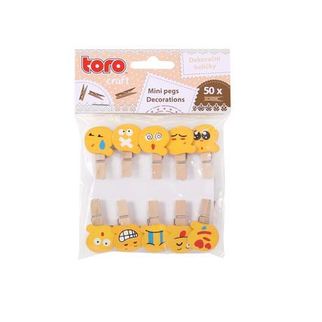 Dřevěné dekorační kolíčky TORO smajlík 10ks