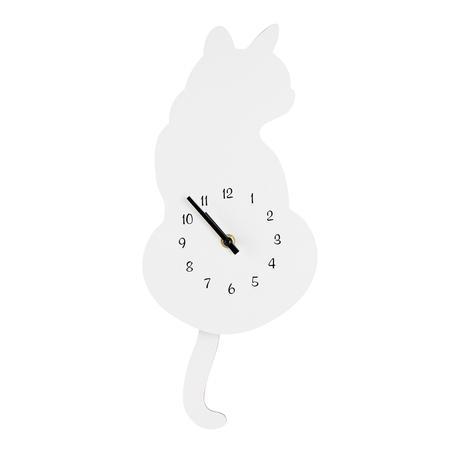 Nástěnné hodiny TORO bílá kočka 40cm