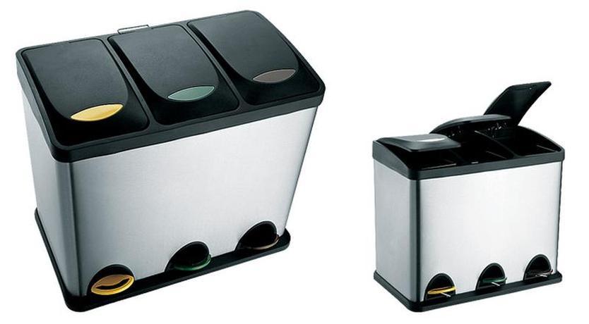 Nerezový nášlapný odpadkový koš na tříděný od...