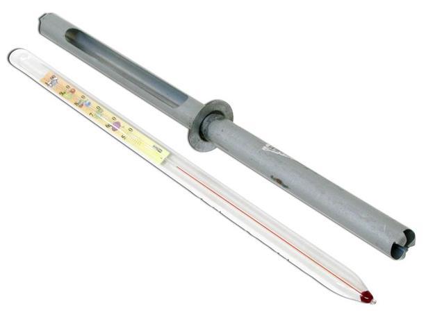 Kovovýroba Bystřice n.p Pouzdro na teploměr, průměr 2, 3 cm