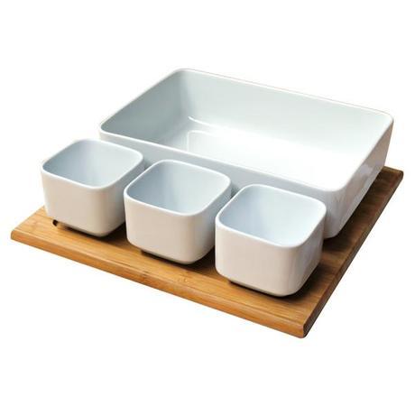 TORO Set salátový + bambusový podnos, keramika