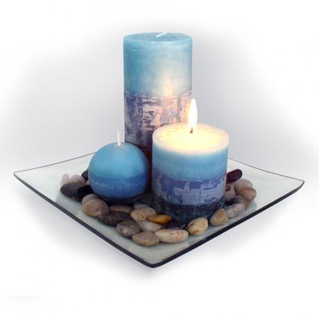 Dárkový set 3 svíčky ,vůně borůvka, na skleně...