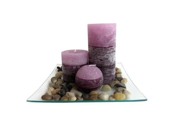 Dárkový set 3 svíček s vůní levandule na skle...