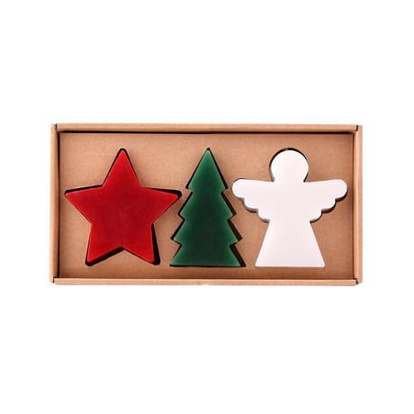 Set 3 ks vánočních svíček - stromeček, anděl,...