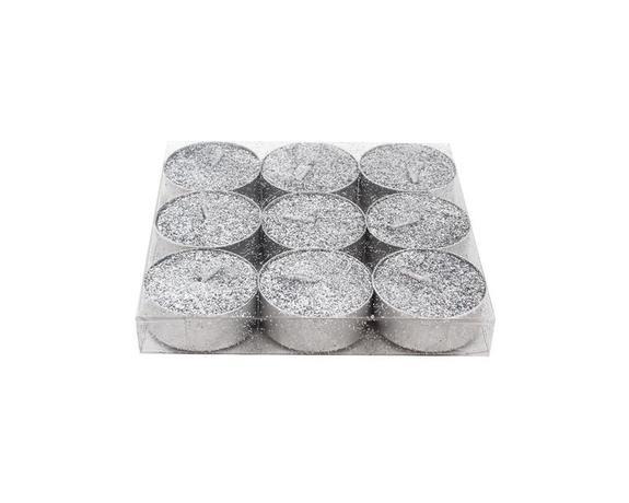 Svíčka čajová, třpytivá, 9ks, stříbrná
