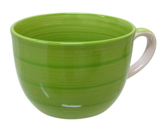Hrnek JUMBO s proužky, objem 500 ml, zelený