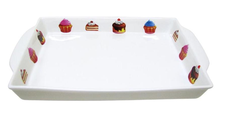 Tác obdélníkový s dekorem dortíky,  27, 2 x 2...