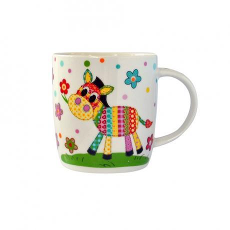 Hrnek 350 ml, dekor kůň, žirafa, slon