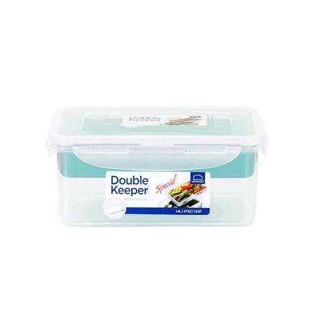 Dóza na potraviny s přihrádkou, 1,4 l, modrá