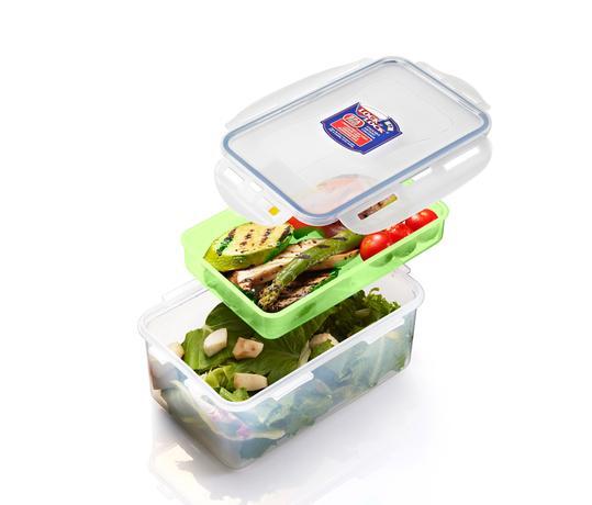 Dóza na potraviny s přihrádkou, 1,4 l, zelená
