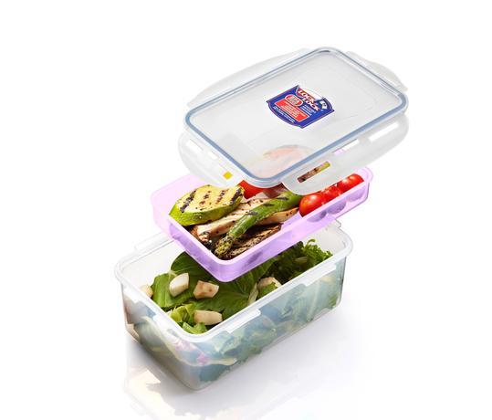 Dóza na potraviny s přihrádkou, 1,4 l, fialov...