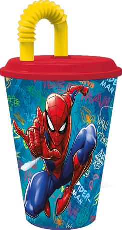 Plastový kelímek s brčkem Spiderman 430ml