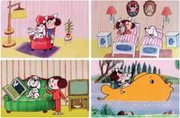 Prostírání dětské, Káťa a Škubánek, 4 designy, 28,5 x 43,5 cm