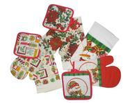 Vánoční kuchyňský set -rukavice, chňapka, útěrka