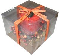 Svíčka dárková s dekorací a vůní pomeranče,  6, 9 x 9 cm