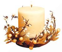 svíčka dárková s dekorací a 7 x 9 x 3 cm