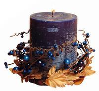 Svíčka dárková s dekorací a vůní borůvky,  6, 9 x 9 cm