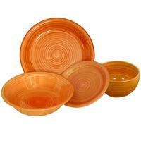 Talíř dezertní s proužky keramika, 19,5 cm, oranžový