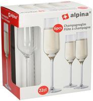 Sklenice na šampaňské Alpina, objem 220 ml, 6 ks
