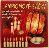 Svíčky do lampiónů 8 ks červená/bílá