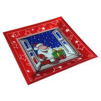 Podnos vánoční dekor, sklo, čtverec
