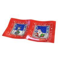 Podnos vánoční dekor,dvojitý, obdél., sklo