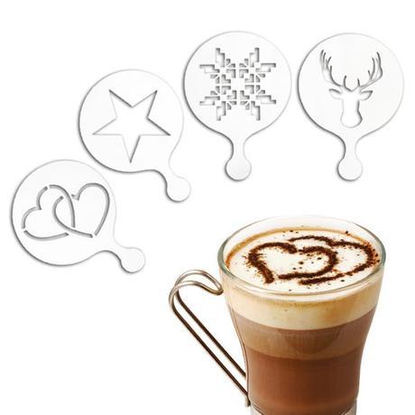 TORO   Šablona na zdobení kávy, 4 ks, plast