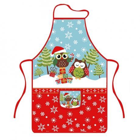 TORO | Zástěra kuchyňská, sovy vánoce, polyester
