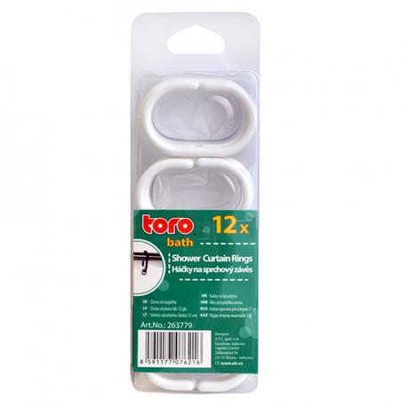 TORO | Náhradní háčky k závěsu do koupelný, 12 ks