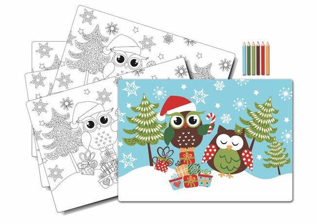 """TORO   Prostírání """"sova vánoce""""-omalovánky s pastelkami, 5 ks"""
