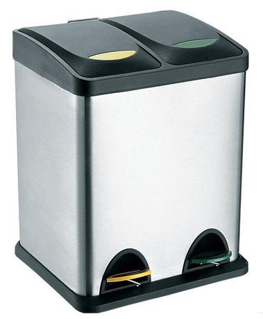 TORO | Koš na odpadky nerez, na tříděný odpad, objem 16 l, 40 x 26,5 cm