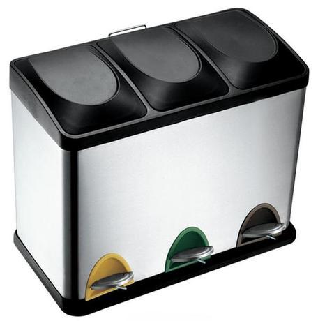 TORO | Koš na odpadky nerez, na tříděný odpad, objem 45 l, 60 x 32 x 48 cm - doprava zdarma