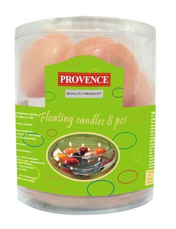 Provence | Svíčky plovoucí 8 ks lososová, 4, 3 x 2, 8 cm