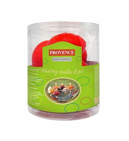 Provence | Svíčky plovoucí 8 ks červená, 4, 3 x 2, 8 cm