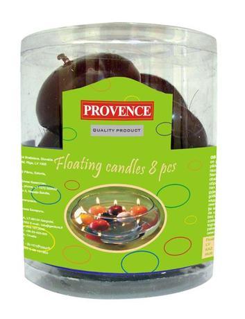 Provence | Svíčky plovoucí 8 ks tmavě červená, 4, 3 x 2, 8 cm