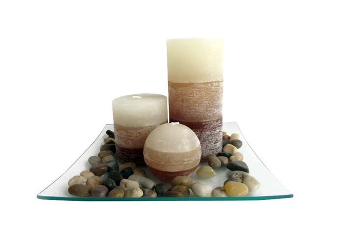 TORO | Dárkový set 3 svíčky ,vůně vanilka, na skleněném podnosu s kameny.