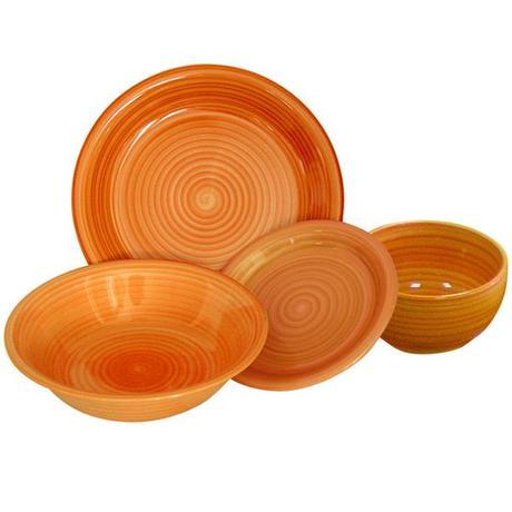 TORO | Talíř dezertní s proužky keramika, 19,5 cm, oranžový
