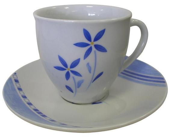 TORO | Šálek s podšálkem, keramika, sada 6/6, motiv modré květiny