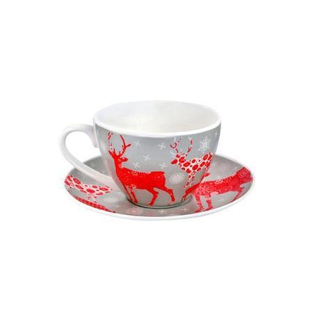 TORO | Hrnek s podšálkem 180 ml, vánoční motiv, porcelán