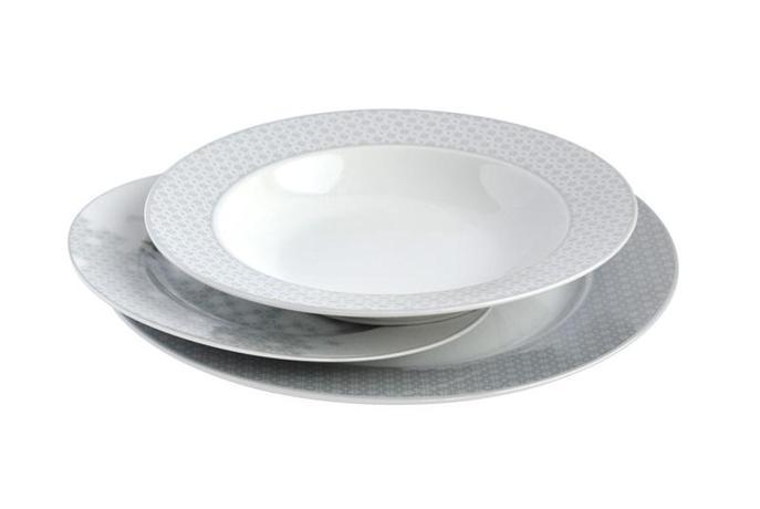 TORO | Talíř polévkový, porcelán, bílo-šedý, 21 cm