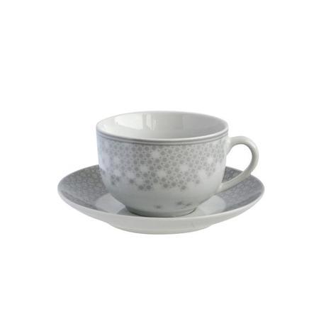 TORO | Šálek s podšálkem, porcelán, bílo-šedá, 100 ml