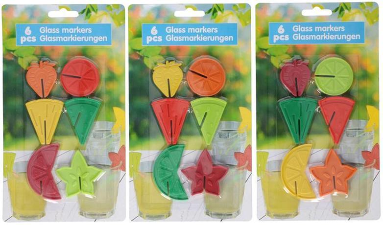 Nezařazeno | Rozlišovače na sklenice 6 ks, plast