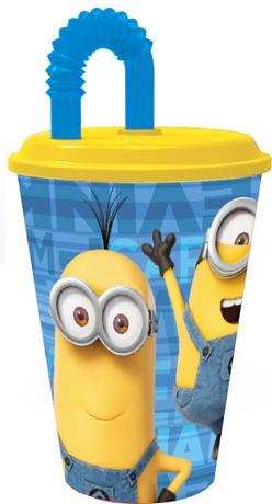 "Disney | Kelímek s brčkem ""Mimoni"", 430 ml, plast"