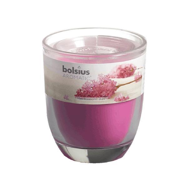 svíčka ve skle šeřík, 7 x 7,9 cm