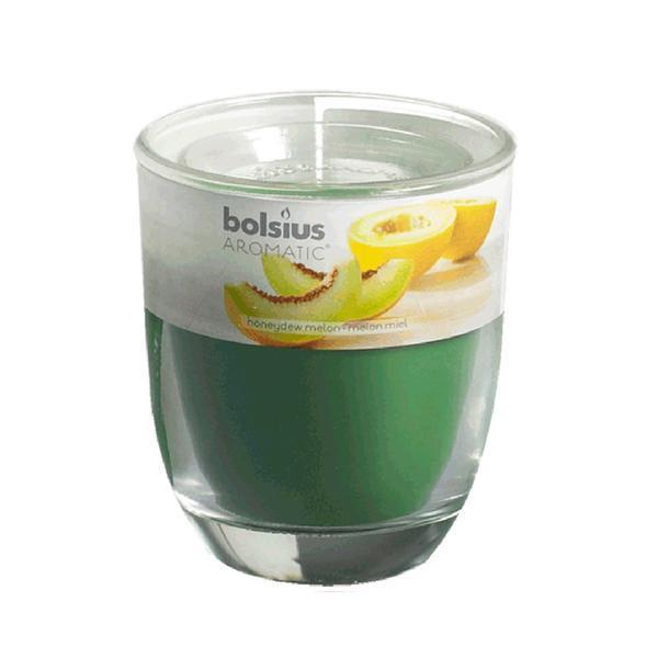 svíčka ve skle meloun, 7 x 7, 9 cm