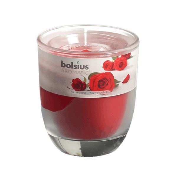 svíčka ve skle růže, 7 x 7, 9 cm