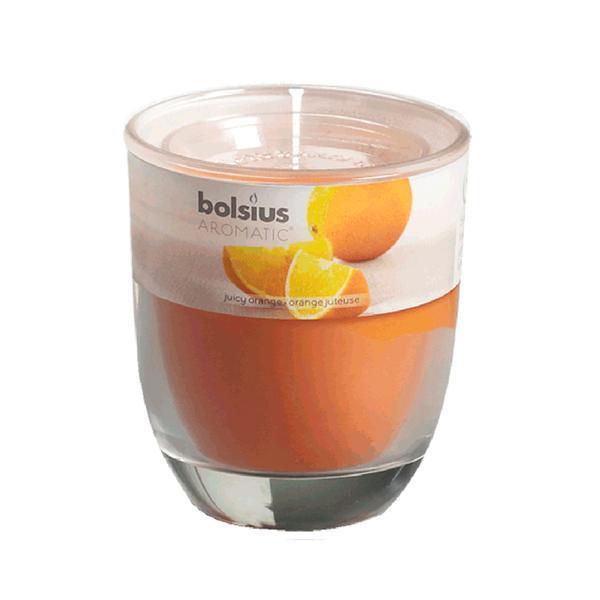 svíčka ve skle pomeranč, 7 x 7, 9 cm