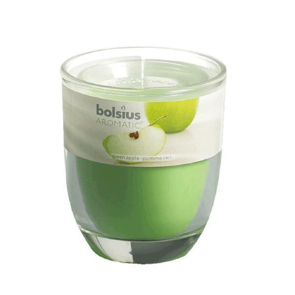 svíčka ve skle jablko, 7 x 7, 9 cm